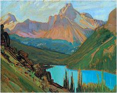 """""""Cathedral Peak and Lake O'Hara,"""" J. MacDonald, oil on panel, McMichael Canadian Art Collection. Group of Seven Group Of Seven Artists, Group Of Seven Paintings, Tom Thomson, Emily Carr, Canadian Painters, Canadian Artists, Mary Cassatt, Mountain Art, Mountain Landscape"""
