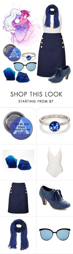 """""""Steven Universe - Sapphire"""" by ellina64 ❤ liked on Polyvore featuring Malcolm Betts, Miss Selfridge, Karen Millen and Laura Biagiotti"""