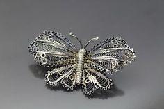 Vtg 800 Silver Filigree Butterfly Brooch