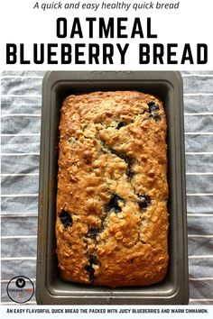 Healthy Blueberry Bread, Blueberry Oatmeal Bread, Blueberry Loaf Cakes, Cinnamon Oatmeal, Cinnamon Bread, Oatmeal Flavors, Oatmeal Cookie Recipes, Oatmeal Bread Recipe, Thm Recipes