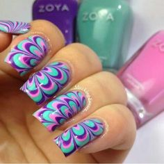 Teal Purple Pink Marble Nail Designs Art Nails Design
