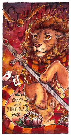 Hogwarts Bookmarks - Gryffindor by Fayven on DeviantArt Harry Potter Tumblr, Harry Potter Kunst, Magia Harry Potter, Harry Potter Drawings, Harry Potter Love, Harry Potter Fandom, Harry Potter Memes, Harry Potter Hogwarts, Slytherin