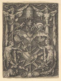 Heinrich Aldegrever (German, ca. 1502–1555/1561). Ornamental Design with a Bat in the Center, 1550. The Metropolitan Museum of Art, New York. Bequest of Phyllis Massar, 2011 (2012.136.783) #bats #Halloween