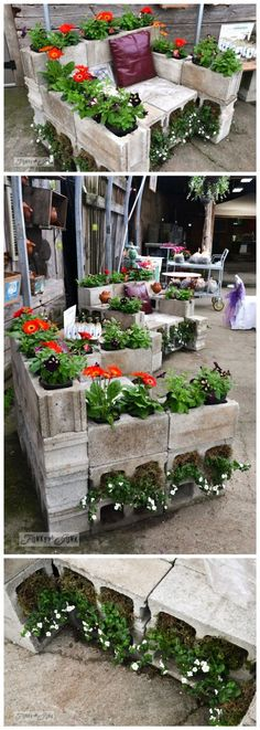 Cinder blocks have a new use now. These cinder block planter chairs are perfect for your garden. Plant your favorite flowers, moss, or herbs. When you want to sit in your garden and enjoy a sunny afternoon, just put a cushion pillow on your unique chair. Diy Garden, Garden Crafts, Garden Planters, Garden Beds, Garden Projects, Garden Art, Garden Design, Small Succulents, Succulents Garden
