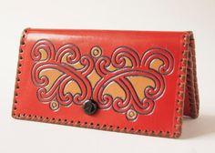 Vintage ornamented leather wallet red sandy tones by SovietEra, $17.00