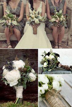 Braut Blumenstrauß Landhochzeit roganisieren Kleid