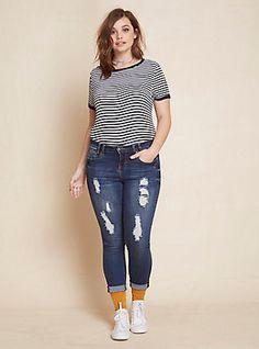Skinny Jeans with Double Rolled Hem - Dark Wash with Destruction, DARK WASH