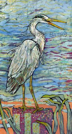 Heron batik painting by Janet Searfoss