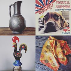 Free U.S. Shipping on Margot ends at 11:59pm EST today! You still have time to take advantage and get your favorite treasure, including these unique finds: (clockwise from bottom right)  - Vintage 1960s Vera Neumann Silk Scarf $20  - Galo De Barcelos Bottle Stopper on cork with Glass Jug (not pictured) $15  - Vintage James W Tufts Silver-plated Water Pitcher from the 1800s $36   Visit shop for more! Link in bio - use coupon code MEMORIALMADNESS at checkout ❤️  #etsy #etsyshop #etsyseller…