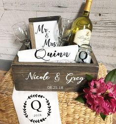 date night wedding box - plus a collection of lingerie themed bridal shower gift ideas for the bride from Etsy, curated by The Garter Girl Bridal Shower Presents, Unique Bridal Shower Gifts, Bridal Lingerie Shower, Bridal Shower Wine, Wedding Shower Gifts, Bridal Shower Decorations, Bridal Showers, Bridal Gifts For Bride, Wedding Gift Baskets