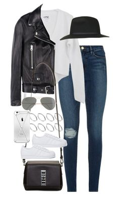 """""""Inspired outfit with Adidas shoes"""" by pagesbyhayley ❤ liked on Polyvore featuring ファッション, Frame Denim, Acne Studios, ASOS, Topshop, Proenza Schouler, adidas Originals と Ray-Ban"""