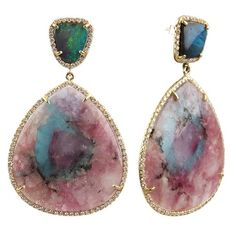 boulder opal and paraiba tourmaline earrings with pave diamonds set in 18K gold.  designer:  Irene Neuwirth
