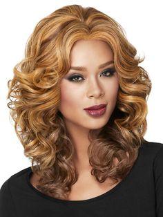 Sherri Shepherd Casual Curl Lace Front Wig Final Sale, COPPER AUBURN Copper Red and Medium Auburn