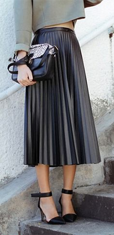 Black Faux Vegan Leather High Waist Box Pleated A Line Circle Bell Flare Midi Skirt