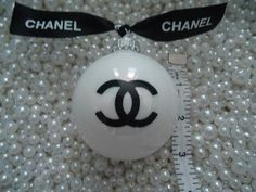 CHANEL INSPIRED SHINY PEARL GLASS CHRISTMAS TREE ORNAMENT WITH CHANEL RIBBON LARGE