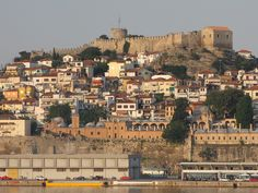 Fortress, Kavala City, against Island Best Places In Greece, Thasos, Macedonia Greece, Greece Pictures, Greek Beauty, Travel Photos, Travel Ideas, Thessaloniki, Best Cities
