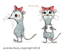 Opossum character study by Andrea Zuill. Ink drawing, colored in Photoshop. Illustration / art.