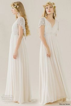 rue de seine wedding dress 2015 bridal short embroidered butterfly sleeves draped bust v neckline loss fitting gown sadi front side -- Rue de Seine Wedding Dresses Wedding Dresses Nz, Designer Wedding Gowns, Wedding Dress Shopping, Bridal Dresses, Flower Girl Dresses, Bohemian Bride, Bridal Collection, Dress Collection, Dream Dress