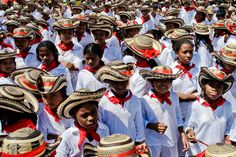 Colombian children, wearing a traditional Caribbean clothes and the Vueltiao hats, dance Cumbia during the Carnival in Barranquilla, Colombia