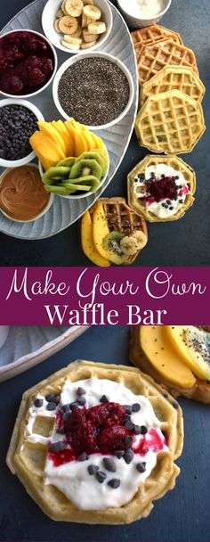 Make Your Own Waffle Bar features tons of fun toppings including fresh fruit nuts yogurt raspberry sauce maple syrup peanut butter chocolate chips and more! Waffle Recipes, Brunch Recipes, Breakfast Recipes, Seafood Recipes, Bread Recipes, Empanadas, Healthy Brunch, Breakfast Healthy, Vegetarian Breakfast