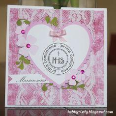 Gli Hobby di Lety: invito Comunione in rosa Hobby, Pink