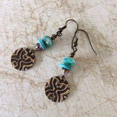 Earrings brass embossed design turquiose bead by rubybluejewels