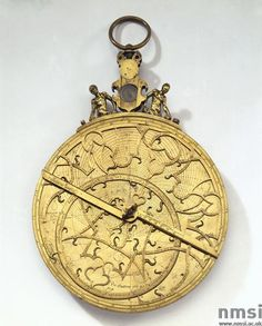 "Flemish brass planispheric astrolabe.  Made by Arsenius c.1570.   ""With compass and figures mounted on the Kursi with 3 plates for latitude, 39 with 42, 45 with 48 and 51 with 54 and shadow dial with unequal scale."""