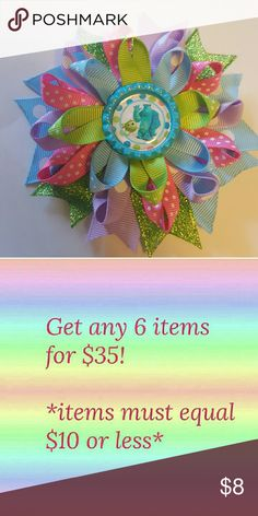 Monsters Inc Sully & Mike Hair Bow Comes on an alligator clip.  4-4.5 inches Brand new Accessories Hair Accessories