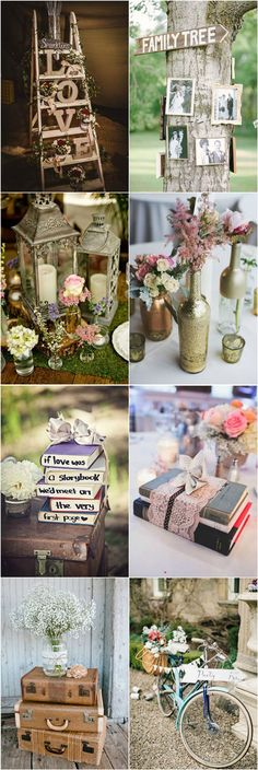 shabby chic vinate wedding decorations and centerpieces: