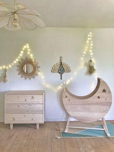 Berceau Lune à Bascule Wood, Handmade, Furniture, Custard, The South, Bassinet, Seesaw, Moon, Nursery