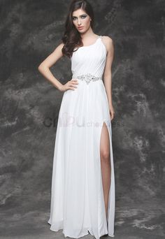 Elegant Grecian A-Line/Princess Slit Floor-Length One Shoulder Chiffon Wedding Dress with Ruffle Rhinestone Wedding Dress 2013, Cheap Wedding Dress, Wedding Dresses, New Arrival Dress, Evening Dresses, Formal Dresses, 6 Years, Dress Collection, White Dress