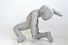 Sabi van Hemert - White leather figurative nude sculpture, 2011