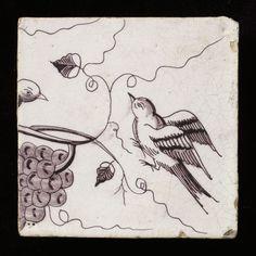 Tegel: Vogel met druiventros aan tak