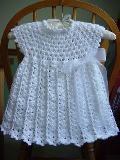 Best 11 Hand crochet/crocheted dress for your special little girl. This dress also has a pearl button closure on the neckline, and the yarn has a sparkly thread through the whole dress. This would be perfect for a one of a kind Christening/Baptism dress. Crochet Dress Girl, Crochet Baby Dress Pattern, Crochet Baby Blanket Beginner, Baby Dress Patterns, Baby Girl Crochet, Crochet Baby Clothes, Crochet For Kids, Hand Crochet, Baby Knitting