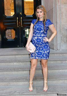 Blue Cap Sleeve Crochet Lace Dress -SheIn(Sheinside)