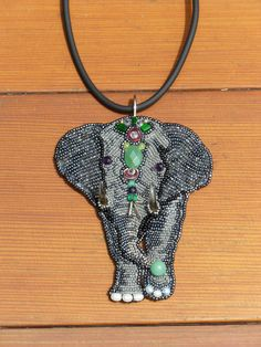 Beaded Elephant Bead Embroidered Necklace Pin  No 116 by STARART,