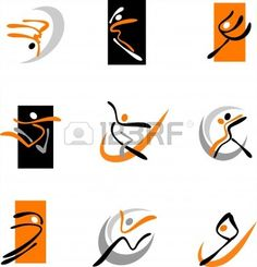 Collection of abstract dancing icons and logos Stock Photo - 7441463