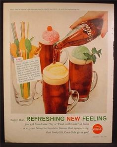 vintage coke ad float | Magazine Ad For Coke Coca-Cola, Float With Coke, Ice Cream Floats ...