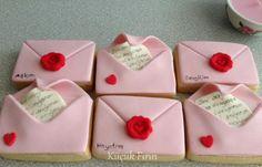 aşk mektup temalı kurabiyeler #valentine cookies
