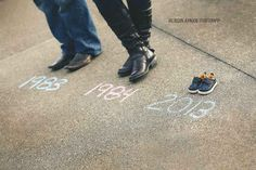 Make a whole timeline of shoes. | 38 Insanely Adorable Ideas For Your Maternity Photoshoot