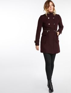 Manteau cintré double rangée boutons gris anthracite Morgan