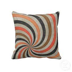 Groovy Retro Spiral Sunbeam Ray Swirl Orange Brown Black Masculine Throw Pillow