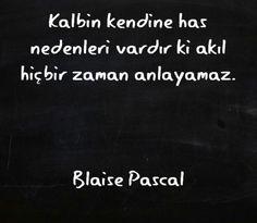 Kalbin kendine has nedenleri vardır ki, akıl hiçbir zaman anlayamaz... Blaise Pascal