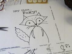 Hi Foxy fox Stitchery PDF Pattern  embroidery by ThriftyStitching, $1.50