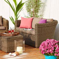 BIG SOUL asztal barna 95x53x41cm Outdoor Sofa, Outdoor Spaces, Outdoor Furniture Sets, Outdoor Decor, Butler, Throw Pillows, Garden, Home Decor, Outdoor Living Spaces