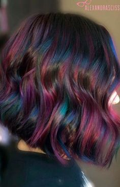 40 Fabulous Rainbow Hair Color Ideas Try rainbow hair that is rich, dark, fantastic and mysterious. The new oil slick hair trend allows brunettes to get awesome look without any harsh bleaching Oil Slick Hair Color, Cool Hair Color, Dark Hair Colours, Hair Colours 2018, Hair Color Ideas For Dark Hair, Subtle Hair Color, Magenta Hair Colors, Blue Purple Hair, Black Hair Ombre