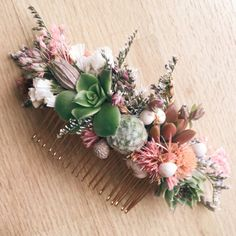 Succulent Hair Comb // Green and Pink by Eucca on Etsy