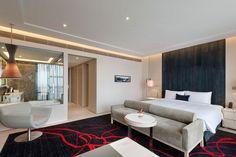 Guest room at Swisstouches Hotel Xi'an, designed by HBA/Hirsch Bedner Associates