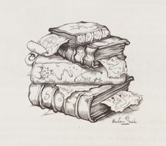 books sketch stack of \ books sketch ` books sketch drawing ` books sketch stack of ` books sketch doodles ` books sketching ` books sketch illustration Fantasy Kunst, Fantasy Art, Pencil Art, Pencil Drawings, Colouring Pages, Coloring Books, Anton Pieck, Fairy Drawings, Bild Tattoos