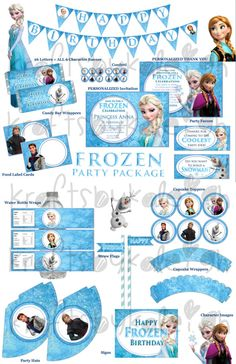 Frozen Birthday Party Package - Printable on Etsy, $25.00